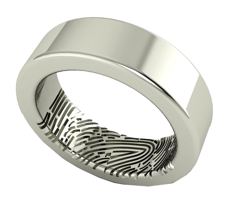 band flat rings in ring engagement engraved fingerprint tungsten wedding
