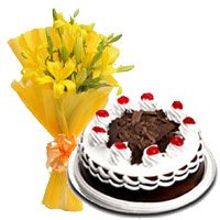 Blackforest Cake & 6 Yellow Lillies