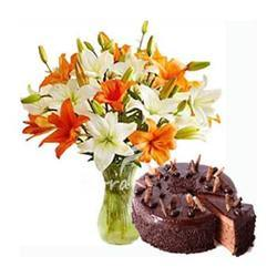Chocolate Truffle Cake & 6 Orange Lillies