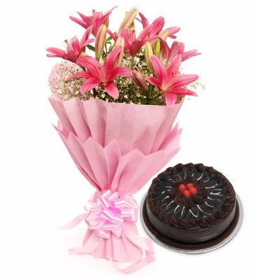 Chocolate Truffle Cake & 6 Pink Lillies