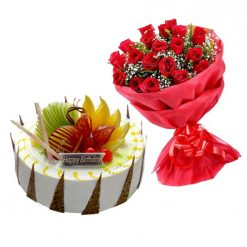 Florida Fruit Cake & Red Roses