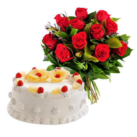 Pineapple Cake & Red Roses