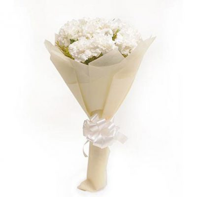 Aqua Lady – 12 White Carnations