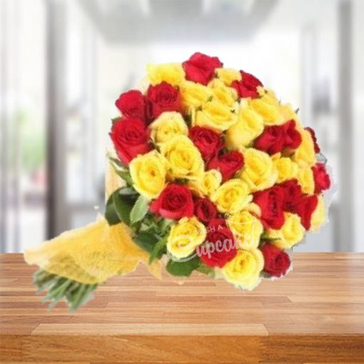 Heart Of Red And Yellow Roses